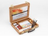 Professional Water Colour Half Pans Bamboo Box